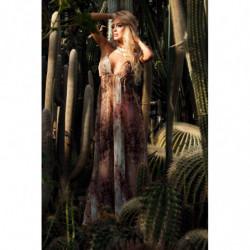 TREES-midi sukienka Ecru