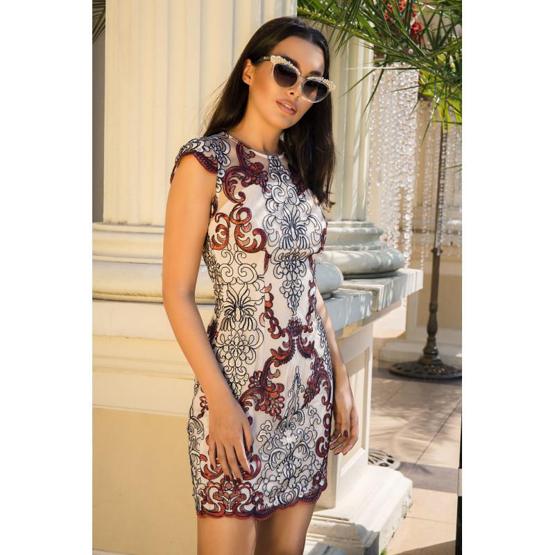TINA-beżowa sukienka mini