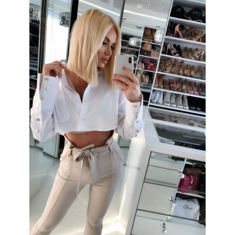 BELLA-krótka biała koszula