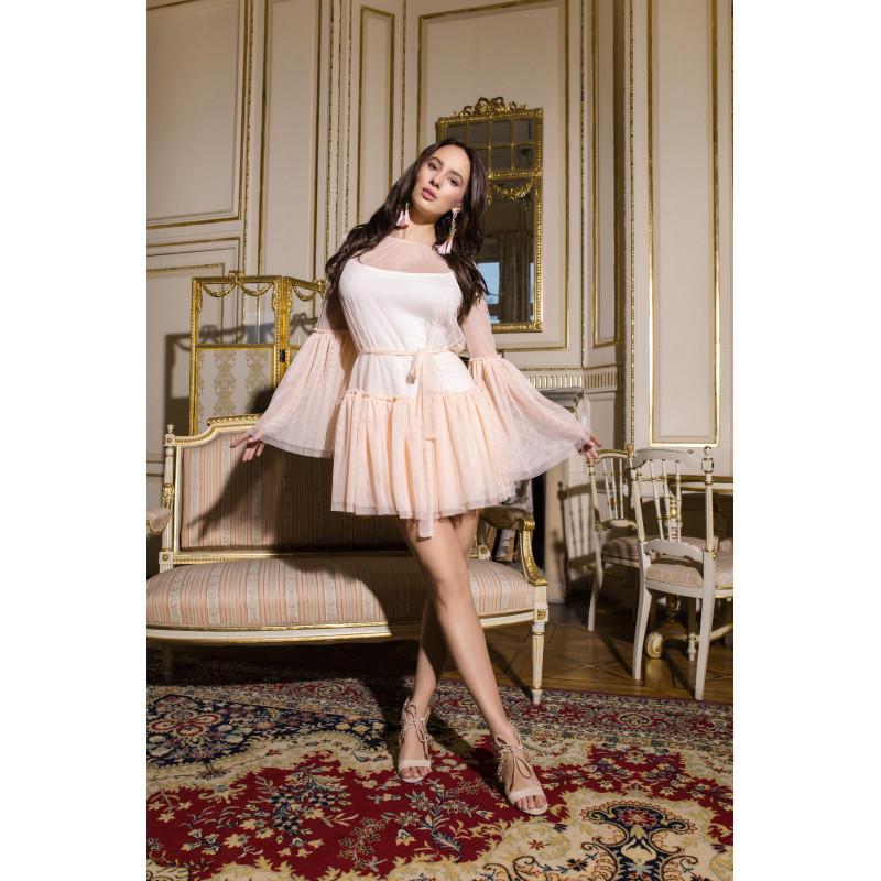 KIMBERLY-mini sukienka Nude...