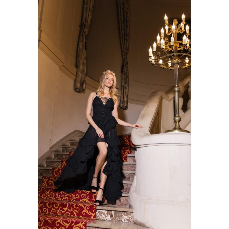 IVETTE-czarna sukienka maxi...