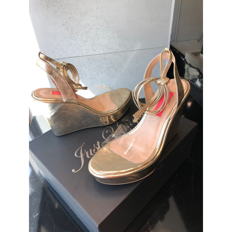 JOLIE-złote buty na koturnie