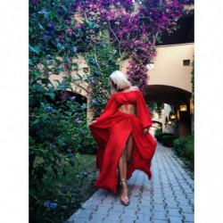 ALANIS RED- czerwona sukienka z weluru
