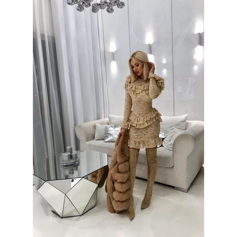 Cremmo - beżowa sukienka z...
