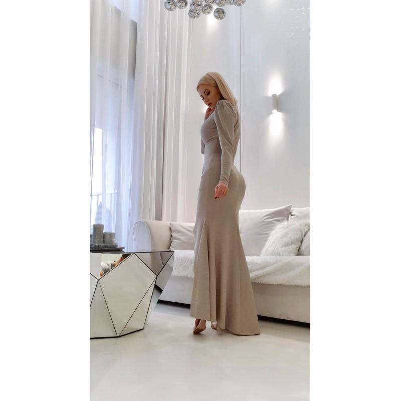 KAREN ECRU- sukienka maxi z koronki