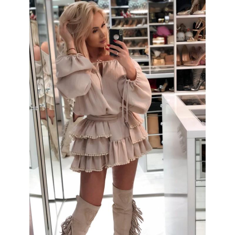 BUBBLES - beżowa sukienka mini