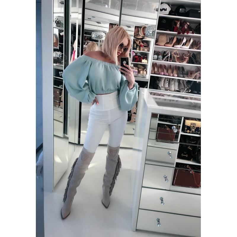CINDY - białe spodnie z...