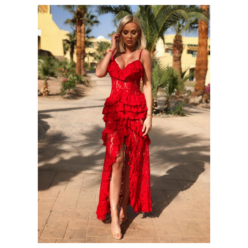 Karen Red - maxi dress with...