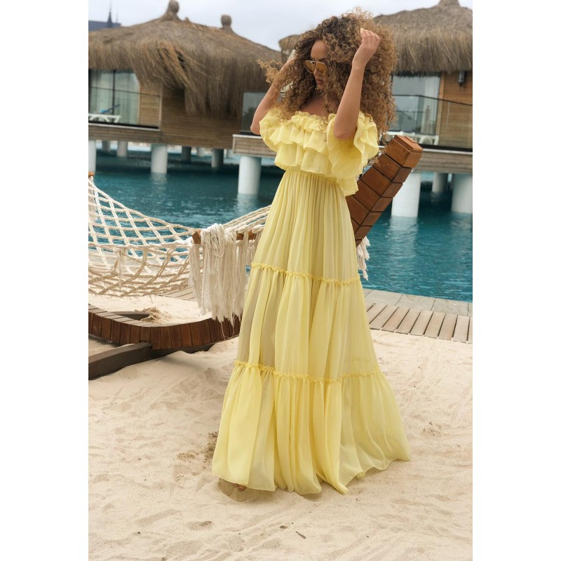 SAN MARINO - lemon maxi dress