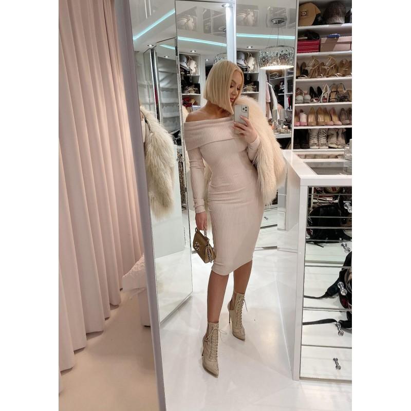COSSY - beige midi dress...