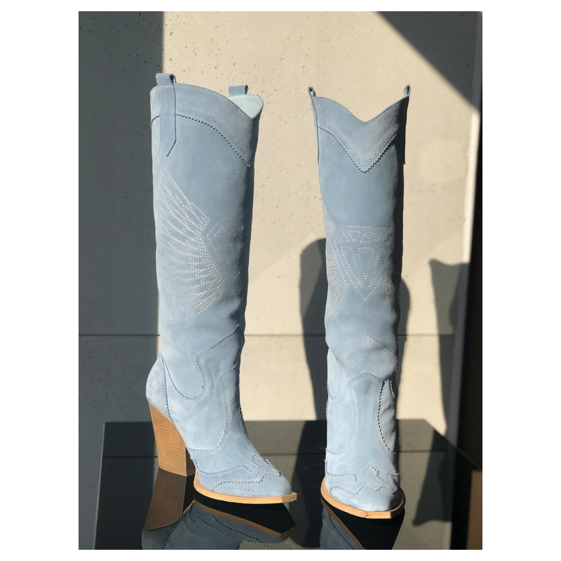BLUE WEST - blue leather boots