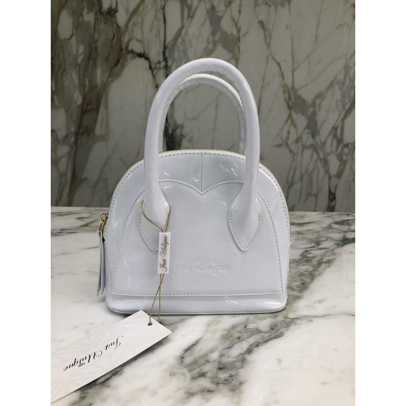 HEART WHITE - leather mini...