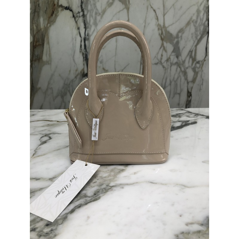 HEART BEIGE - leather mini...
