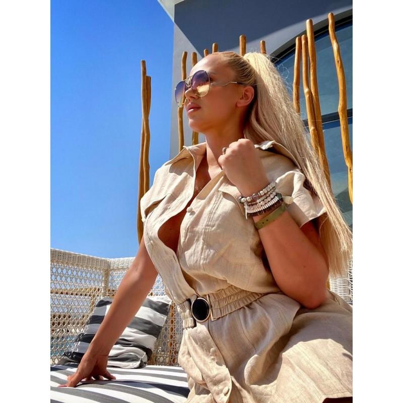 LAURA - linen shirt dress